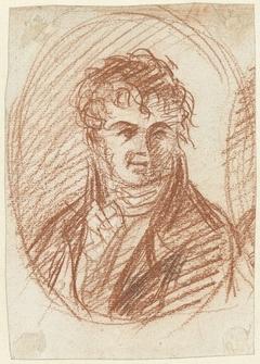 Portretbuste van een heer in ovale omlijsting