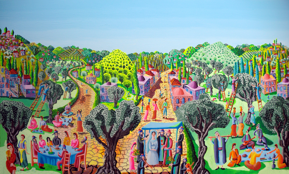 raphael perez after moshe castel naive art paintings landscape artworks painting by israeli painter raphael perez
