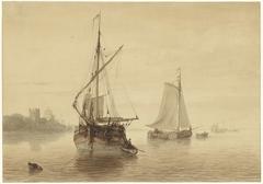 Rivierlandschap met enkele schepen