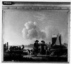 Rivierlandschap met landlieden en veerboot