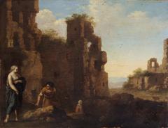 Ruinenlandschaft mit Staffage