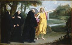 Scène de la vie de saint Benoît : l'ange désignant à saint Benoît l'emplacement du monastère du mont Cassin