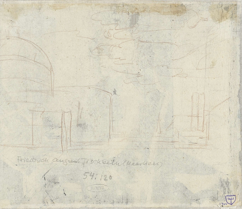 Schets van architectuur in landschap
