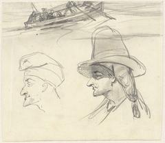 Schets van vissersboot en twee mannenhoofden