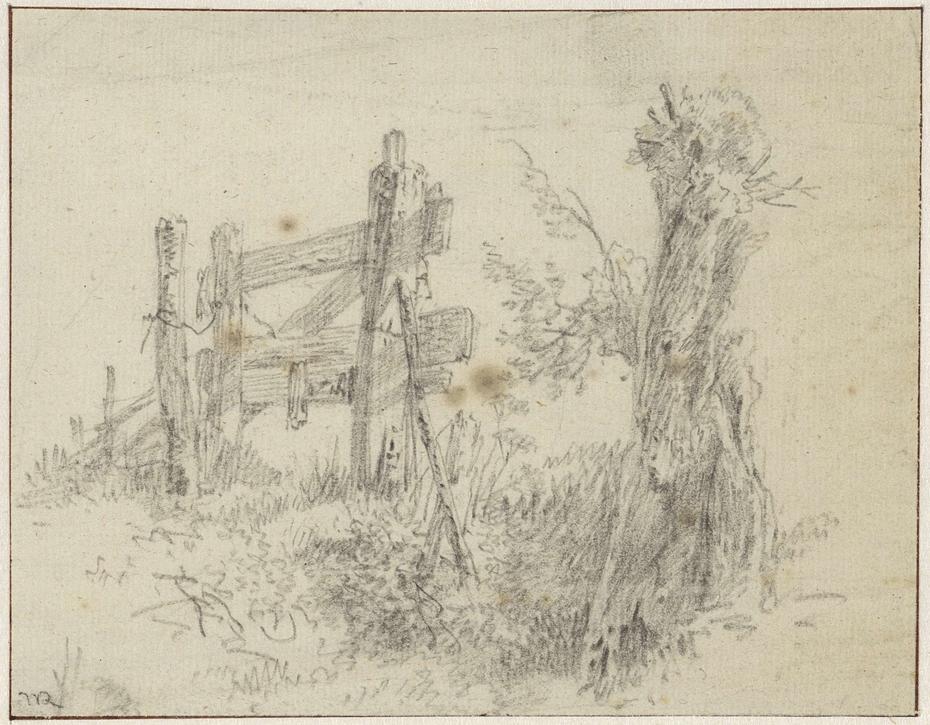 Schetsblad met knotwilg bij een hek
