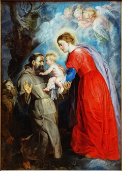 St Francis receives the Christ Child from Mary