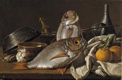 Still Life with Breams, Oranges, Garlic, Condiments, and Kitchen Utensils