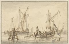 Stille zee met enkele boten
