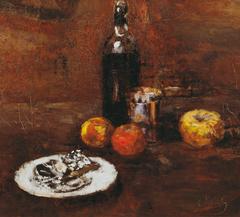 Stillleben mit drei Äpfeln und Käse in Staniol