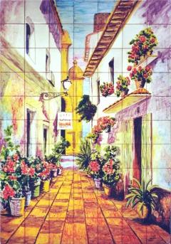 Street with flowerpots