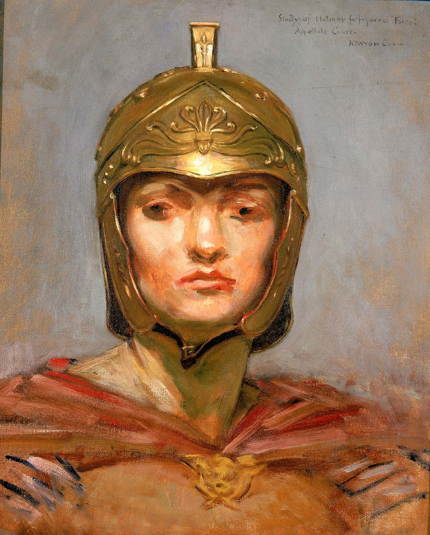 """Study for Mural for Appellate Court Building, New York; """"Statute Law"""", Helmet for Figure of """"Force"""""""