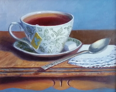 """Tea Time"" by Lydia Martin© (9""x12"") oil on Birch wood panel"