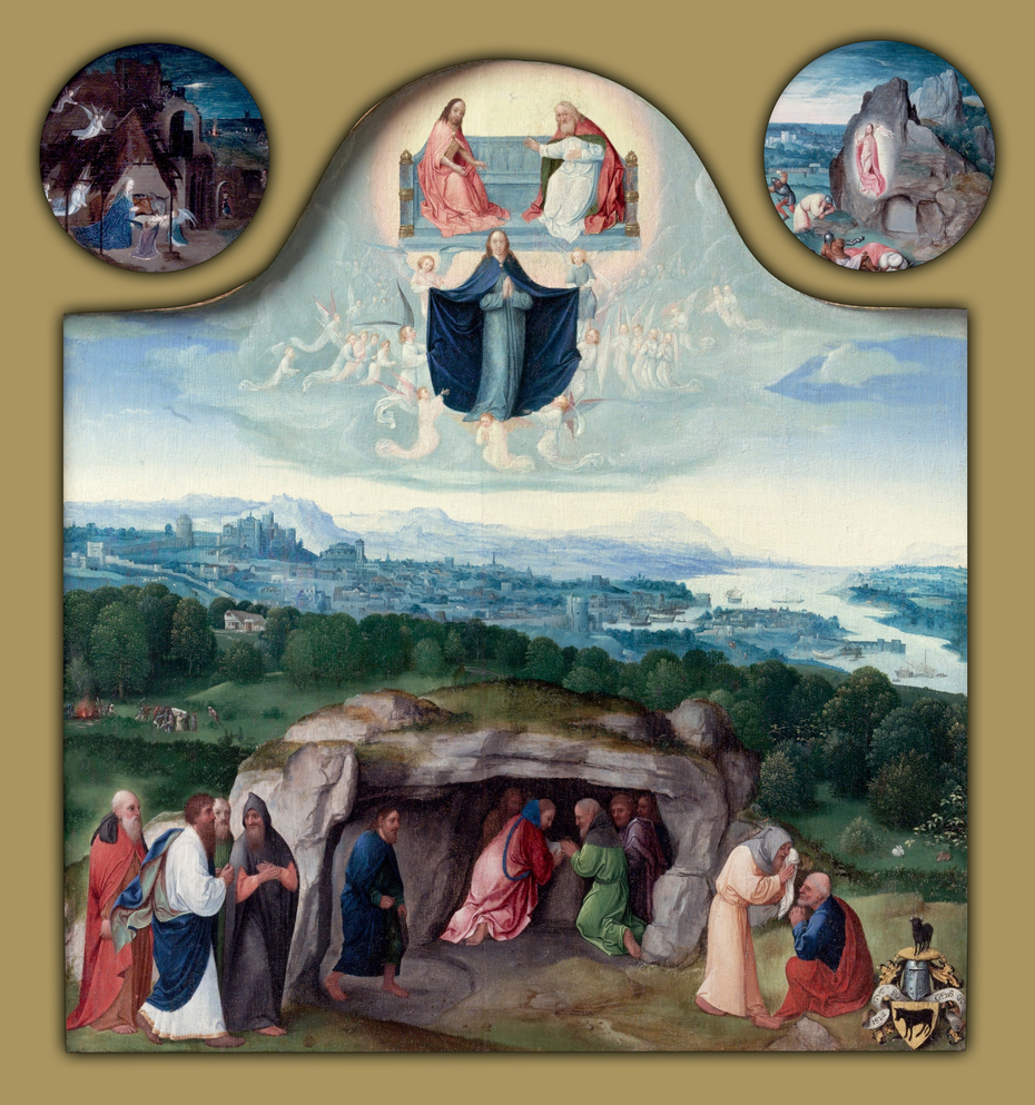 The Assumption of the Virgin, with the Nativity, the Resurrection, the Adoration of the Magi, the Ascension of Christ, Saint Mark and an Angel, and Saint Luke and an Ox