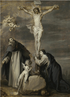 The Crucified Christ Adored by Saints Dominic and Catherine of Siena