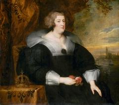 The exiled Queen Marie de Médicis with coronet overlooking Cologne