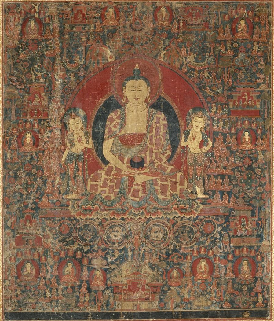 The Jina Buddha of Infinite Light (Amitabha) in His Pure Land Paradise (Sukhavati)