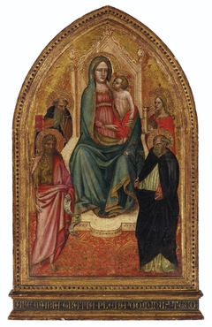 The Madonna and Child enthroned with Saints Barbara, Dominic, John the Baptist and Anthony Abbot