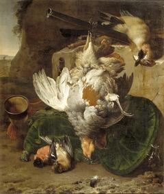 Twee patrijzen en andere dode vogels in een landschap