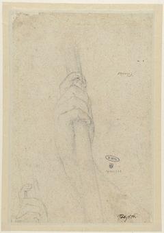 Twee studies van een hand die een stok vasthoudt