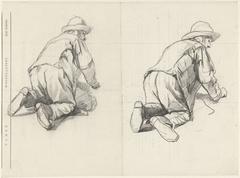 Twee studies van een op zijn knieën werkende man