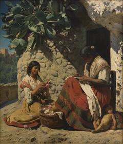 Two Gipsy Women Outside their Cottage. Spain