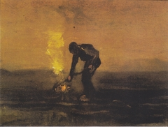 Peasant, burning weed