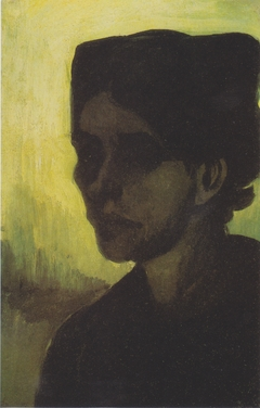 Head of a young peasant woman with a dark hood