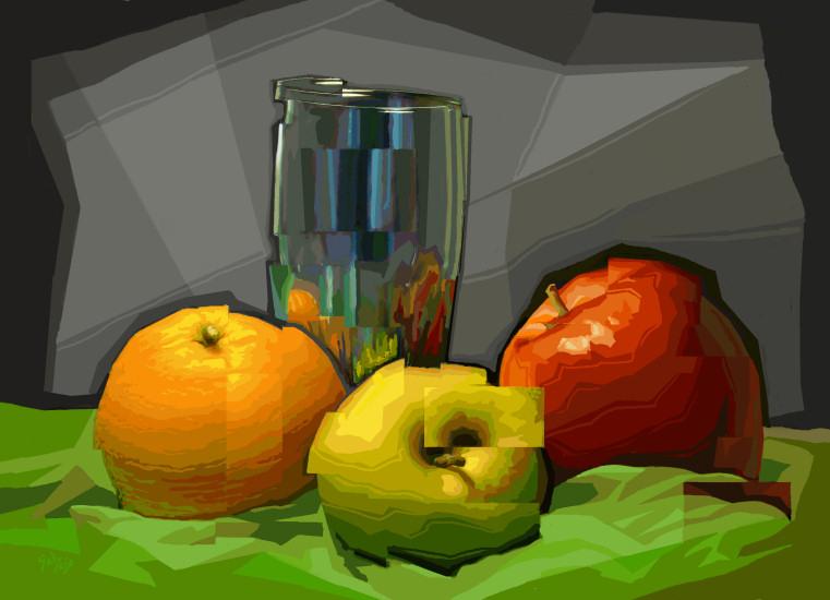 Vaso, Naranja y dos Manzanas