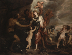"""Venus at the Forge of Vulcan, also known as """"Thetis receives the Arms ofAchilles"""""""
