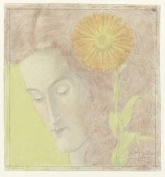 Vrouwenkop met rossig haar en Chrysant