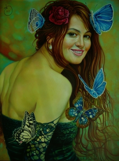 woman rose and butterfly