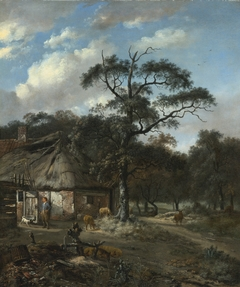 Wooded Landscape with a Boy and Animals near a Cottage