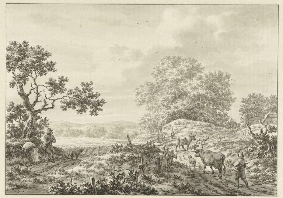 Zomerlandschap met herder met twee koeien en schapen