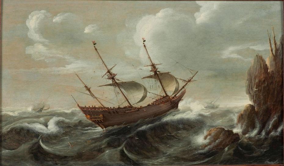 A Dutch pinnace in a rough sea