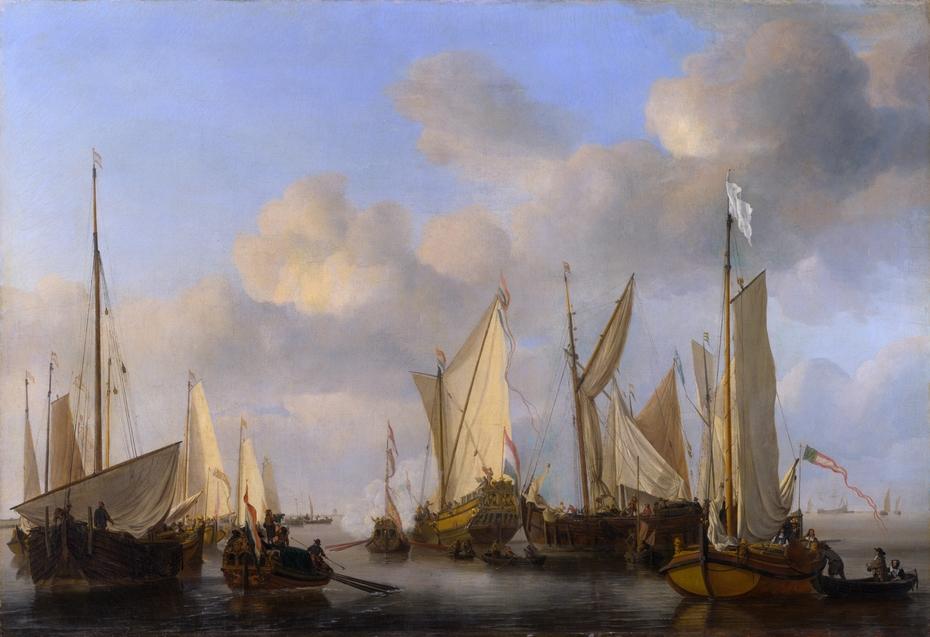 A Dutch Yacht saluting