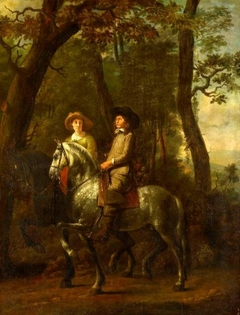 A Lady and Gentleman Riding through a Wood