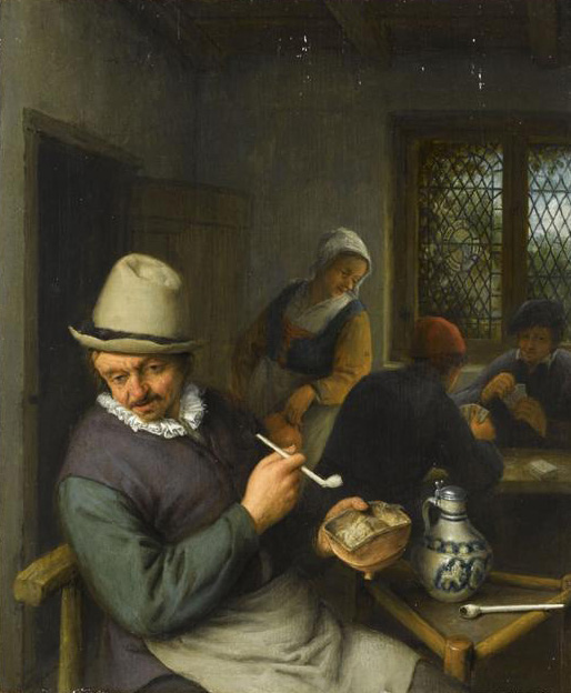 A tavern interior with a peasant smoking a pipe and figures playing cards