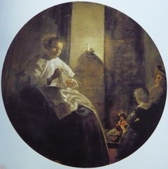 A Woman Sewing by Candlelight