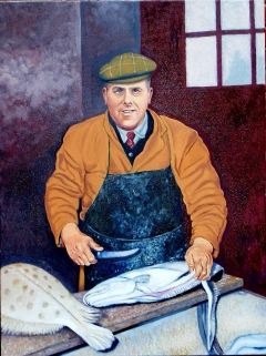 Albert Clifford Walker filleting fish on Grimsby docks circa 1960s, (2011), oil on linen, 90  x 120 cm