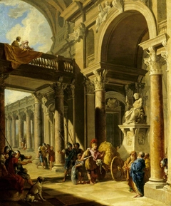 An Architectural Capriccio with Alexander cutting the Gordian Knot