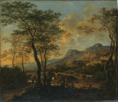 An Italian Landscape with Travellers and Cattle