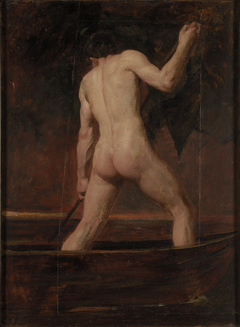 Back View of a Standing Male Nude in a Boat