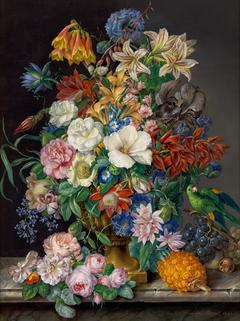 Blumenstück mit Ananas, Weintrauben und Papagei