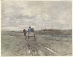 Boerenkar op een landweg
