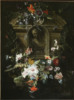 Bust of a woman in a circle of flowers