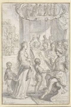 Campaspe staand met haar portret voor Alexander de Grote