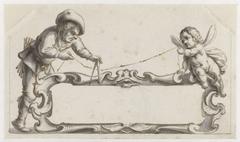 Cartouche omgeven door een man en een putto