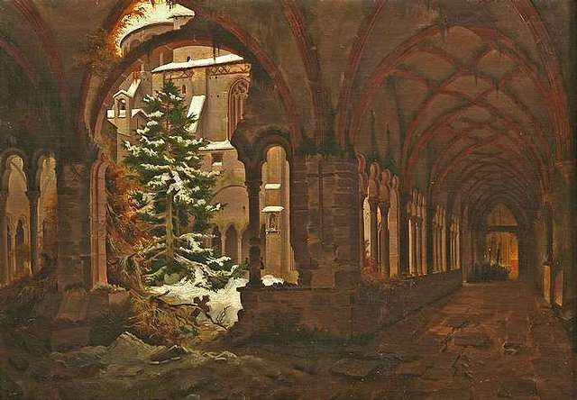 Cloister of an Old Monastery in Winter