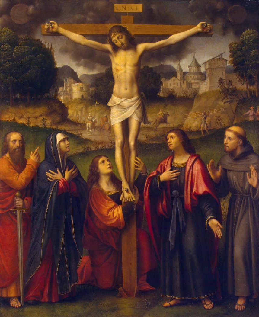 Crucifixion with Madonna and Sts Paul, Mary Magdalene, John and Francis
