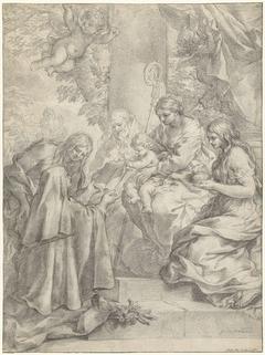 De heilige Margaretha van Cortona biedt knielend een boek aan aan het Christuskind